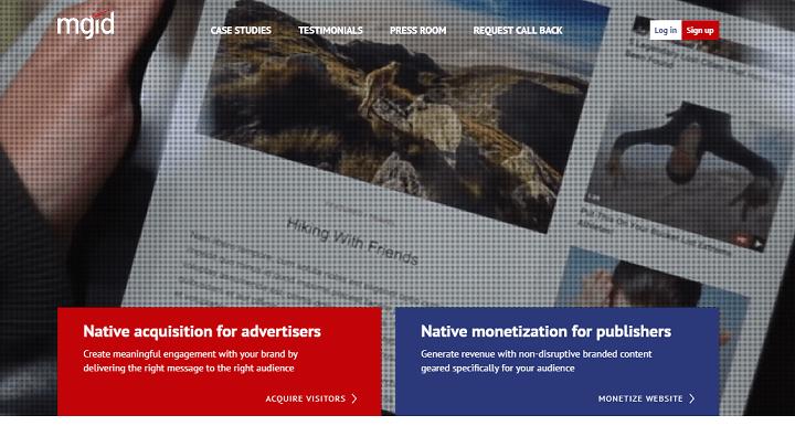 Mgid mạng quảng cáo thay thế google Adsense