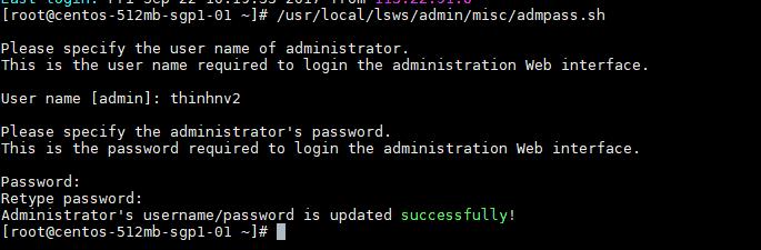 Thiệt lập mật khẩu cho OpenLiteSpeed